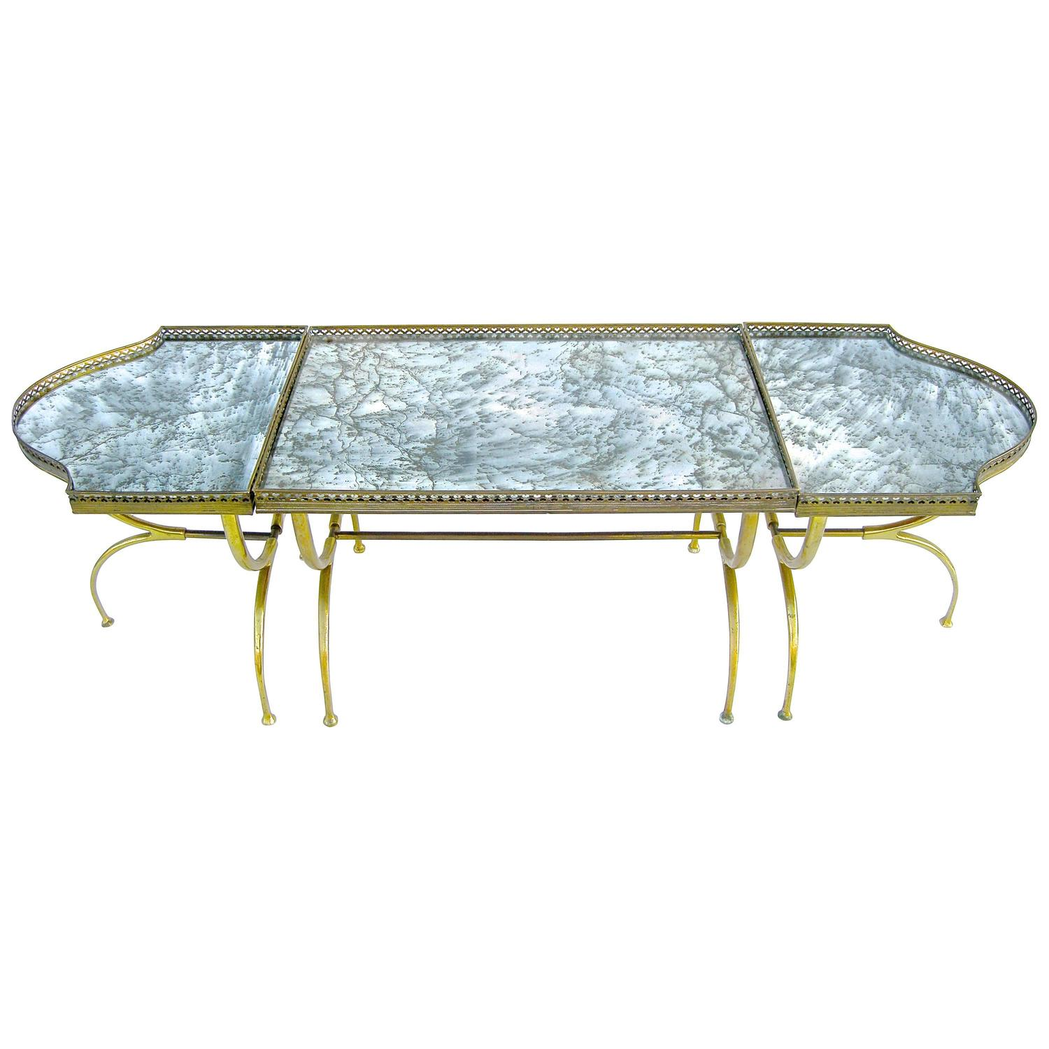 Italian mirrored coffee table at 1stdibs for Mirrored coffee tables