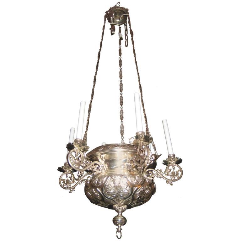 Unique Antique French Moorish Style Silvered Bronze Multi-Light Chandelier