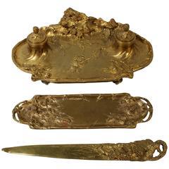 Albert Marionnet Gilt Bronze French Desk Set by