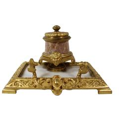 French Gilt Bronze and Marble Inkwell and Pen Holder