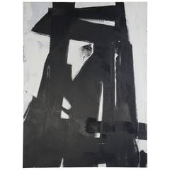 Large Black and White Oil on Canvas Abstract Painting by Guillermo Calles