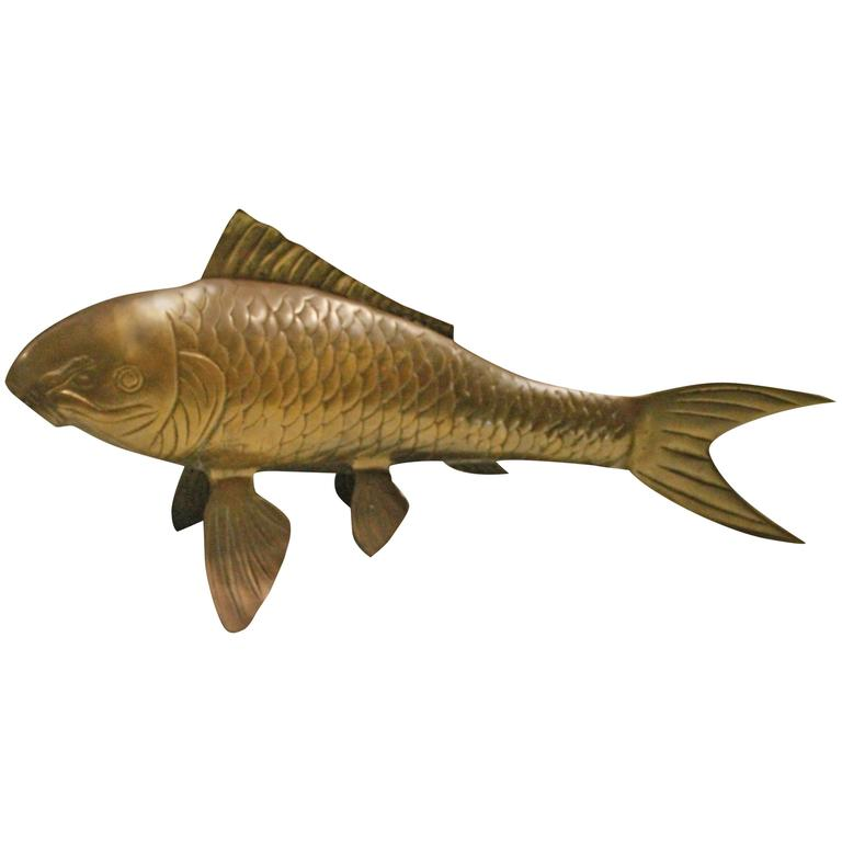 Brass koi fish monumental statue vintage hollywood regency for Chinese koi fish for sale