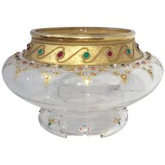 Enameled, Jeweled and Gilt Cut Glass Vase  Austrian. circa 1900
