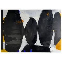 Very Large Black and White Oil on Canvas Abstract Painting by Guillermo Calles