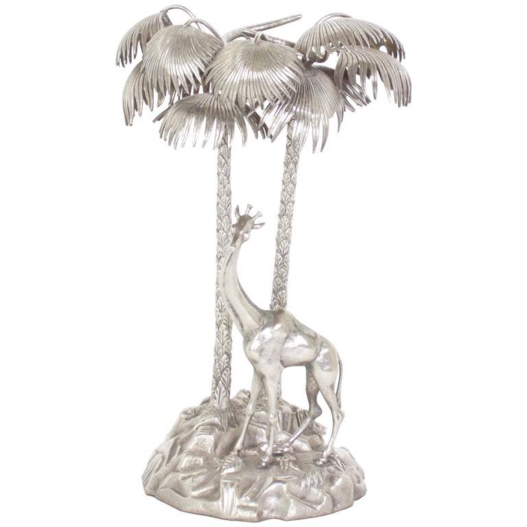 Silver Giraffe Sculpture