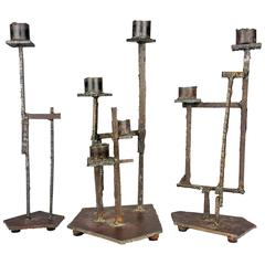 Monumental Trio of Handmade Brutalist Candlesticks, style of Paul Evans, 1970s