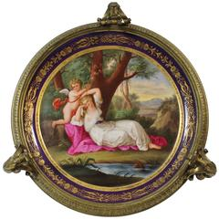 Royal Vienna Style Hand-Painted Plate in Gilt Bronze Stand