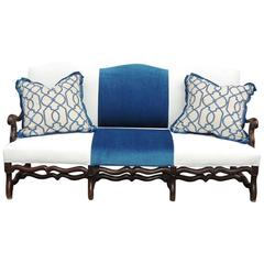 18th C French Baroque Walnut Sofa with Modern Blue & White Upholstery