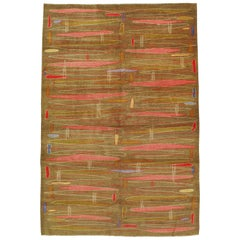 Mid-Century Modern Handmade Turkish Room Size Rug in the Style of Atomic Art