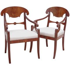 Pair of Swedish Karl Johan Mahogany Arm Chairs, circa 1830