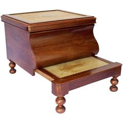 19th Century Bedside Commode with Retractable Wooden Step Stool