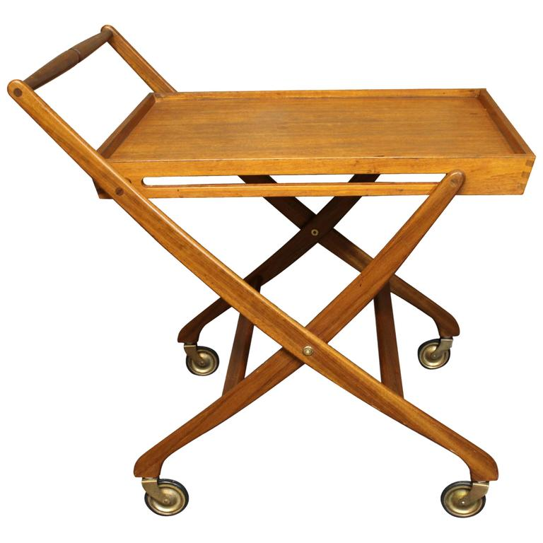 Danish Teak Folding Bar Cart Mid Century Modern