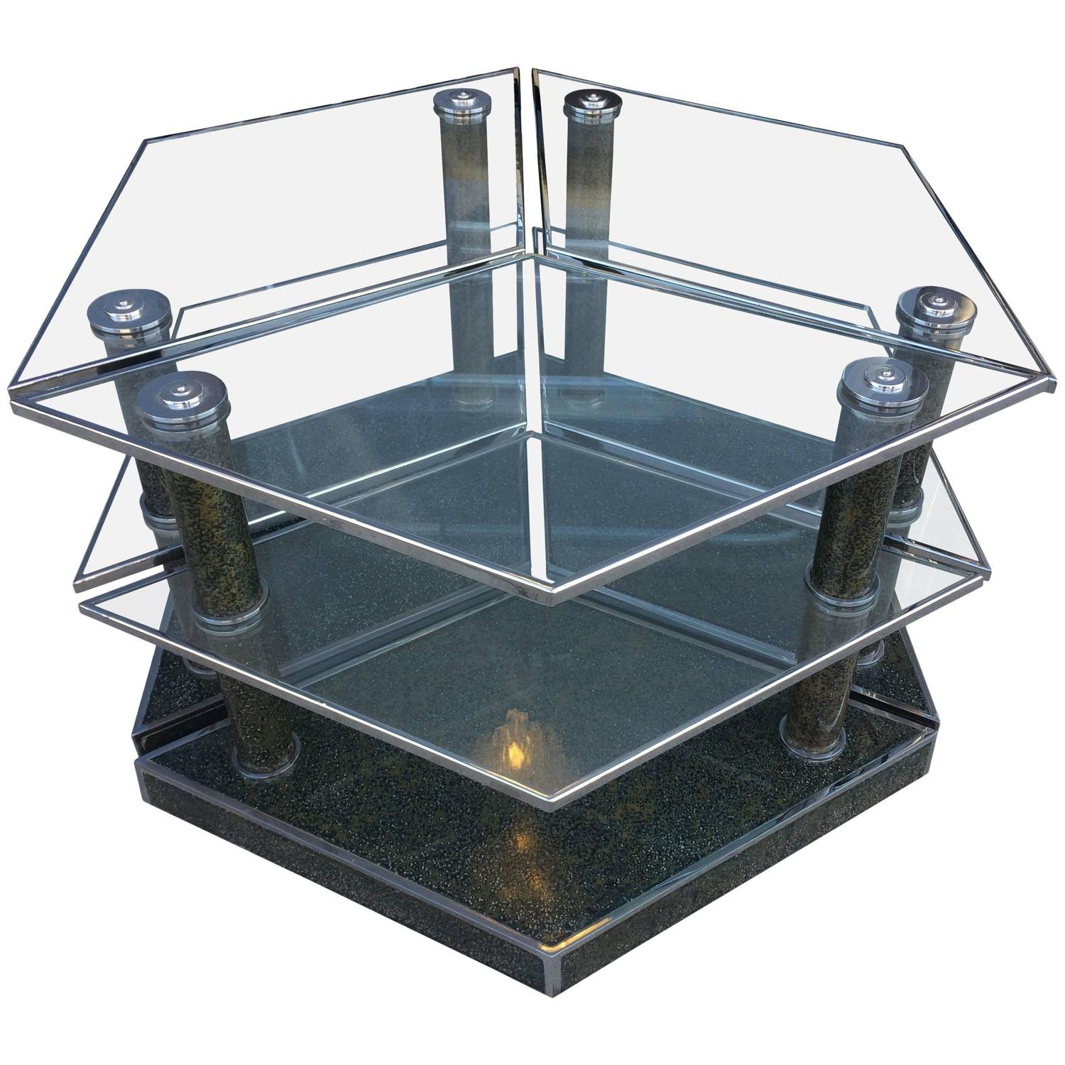 vintage modular coffee table in glass and chrome for sale modular coffee table image 2