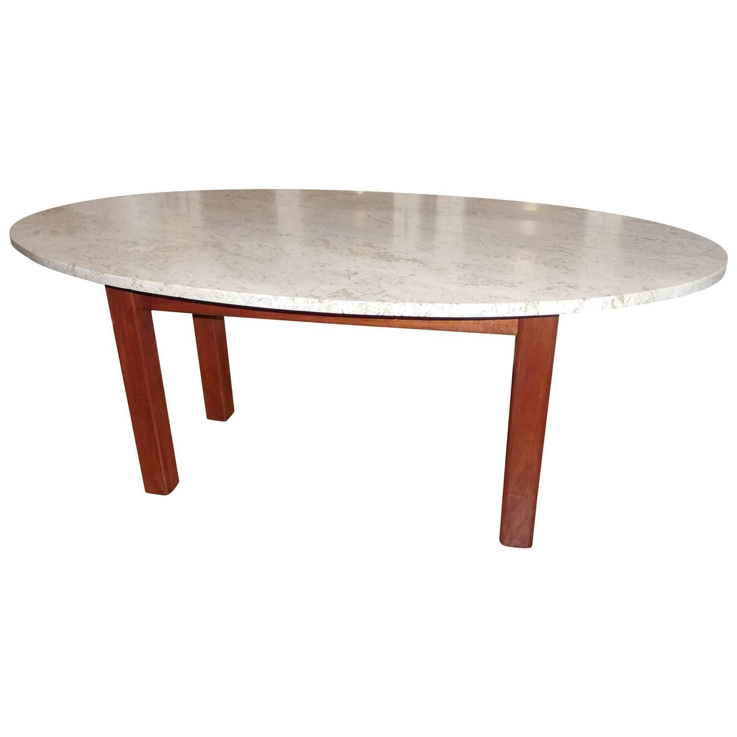 Mid Century Oval Travertine and Wood Coffee Table For Sale at 1stdibs