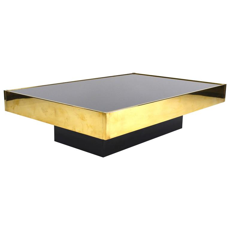 Rare and exclusive brass coffee table by willy rizzo italy 1960s for sale at 1stdibs Exclusive coffee tables