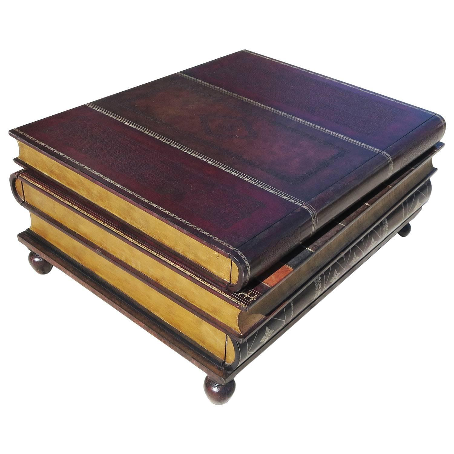 leather stacked books coffee table by maitland smith at 1stdibs. Black Bedroom Furniture Sets. Home Design Ideas