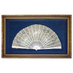 French 19th Century, Mother of Pearl Hand-painted Lace Fan