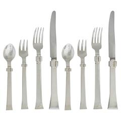 Super Rare Set for Eight Antonio Pineda Sterling Silver Flatware 1950 34 pieces