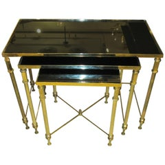 French Brass Nesting Tables With Smoked Glass Tops Circa 1950s