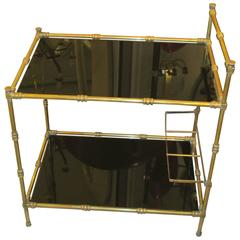 French Faux-Bamboo Brass Bar Cart with Smoked Glass Tops