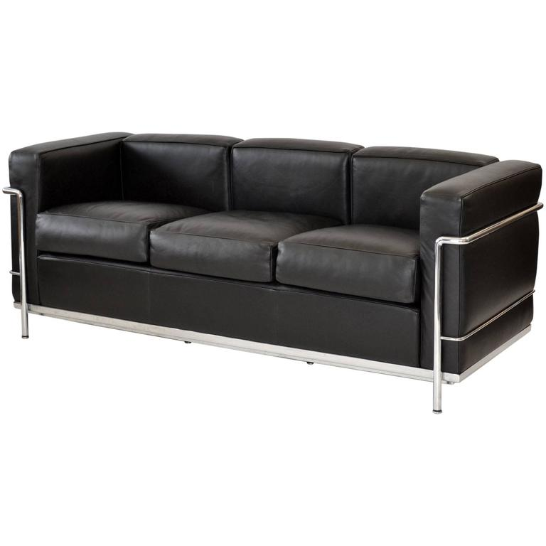 Lc2 three seat leather sofa by le corbusier for cassina at 1stdibs Le corbusier lc2 sofa