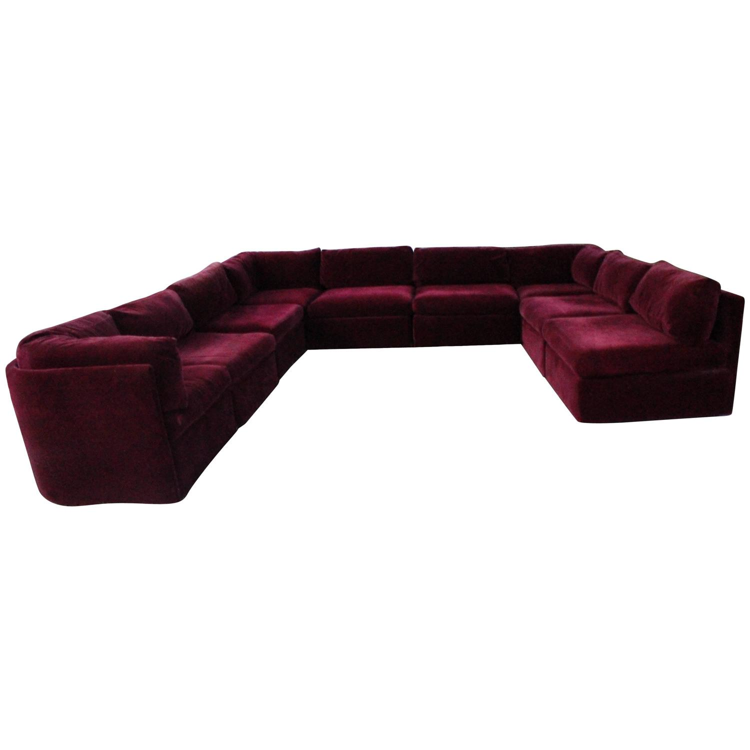 Milo Baughman For Thayer Coggin Tagged Nine Piece Sectional Sofa Couch Vintage At 1stdibs
