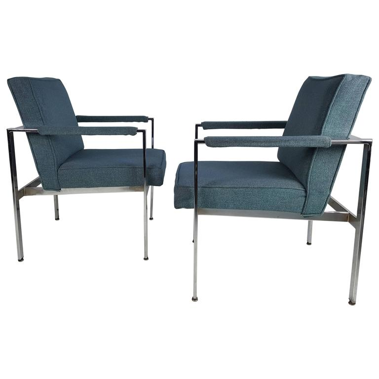 Pair of Milo Baughman Chrome Frame Lounge Chairs, 1970s