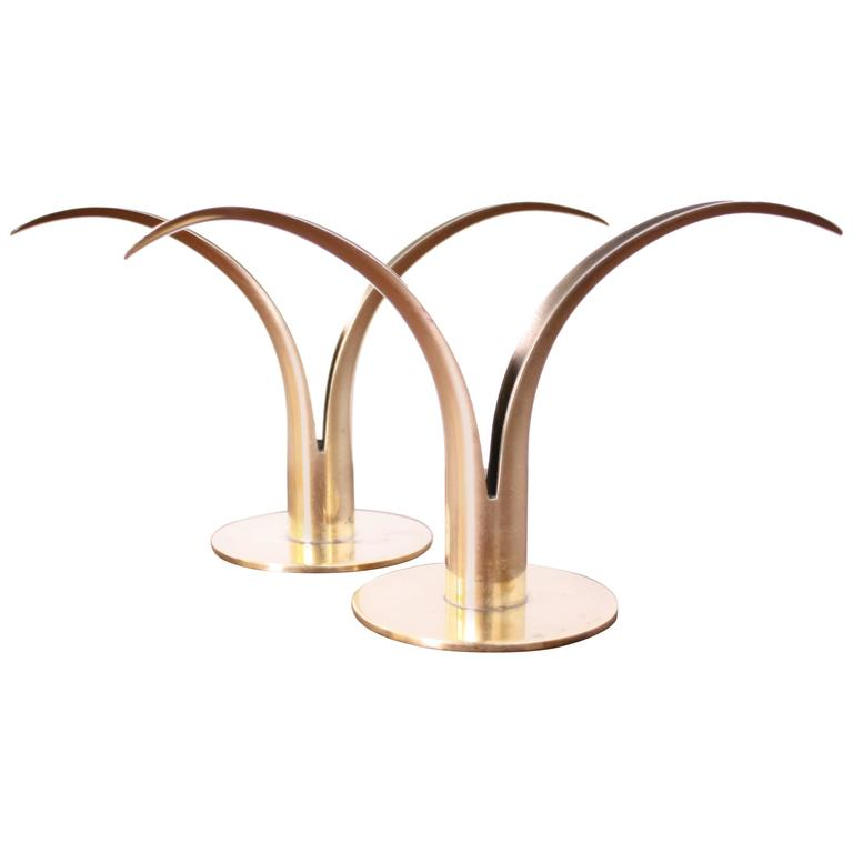 "Pair of Ivar Alenius Bjork ""Lily"" Brass Candleholders for Ystad Metall"