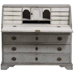 Swedish Gustavian Period Secretary with Reeded Detail, 18th Century Antique