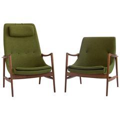 All Original Danish Pair of Teak Rastad and Relling Lounge Chairs