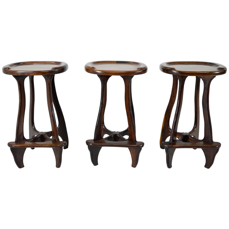 don shoemaker set of three bar stools at 1stdibs. Black Bedroom Furniture Sets. Home Design Ideas