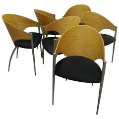 Rare Set of 6 80s Italian Modern Dining Chairs by Cattelan Italia