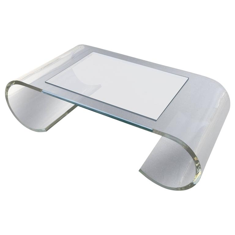 Lucite And Glass Scroll Coffee Table At 1stdibs