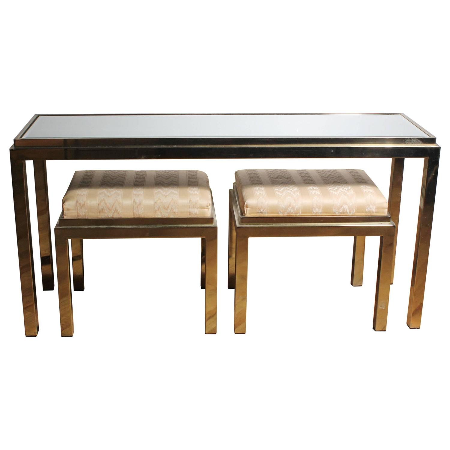 Console Table With Stools ~ Brass console sofa table with matching stools in style of
