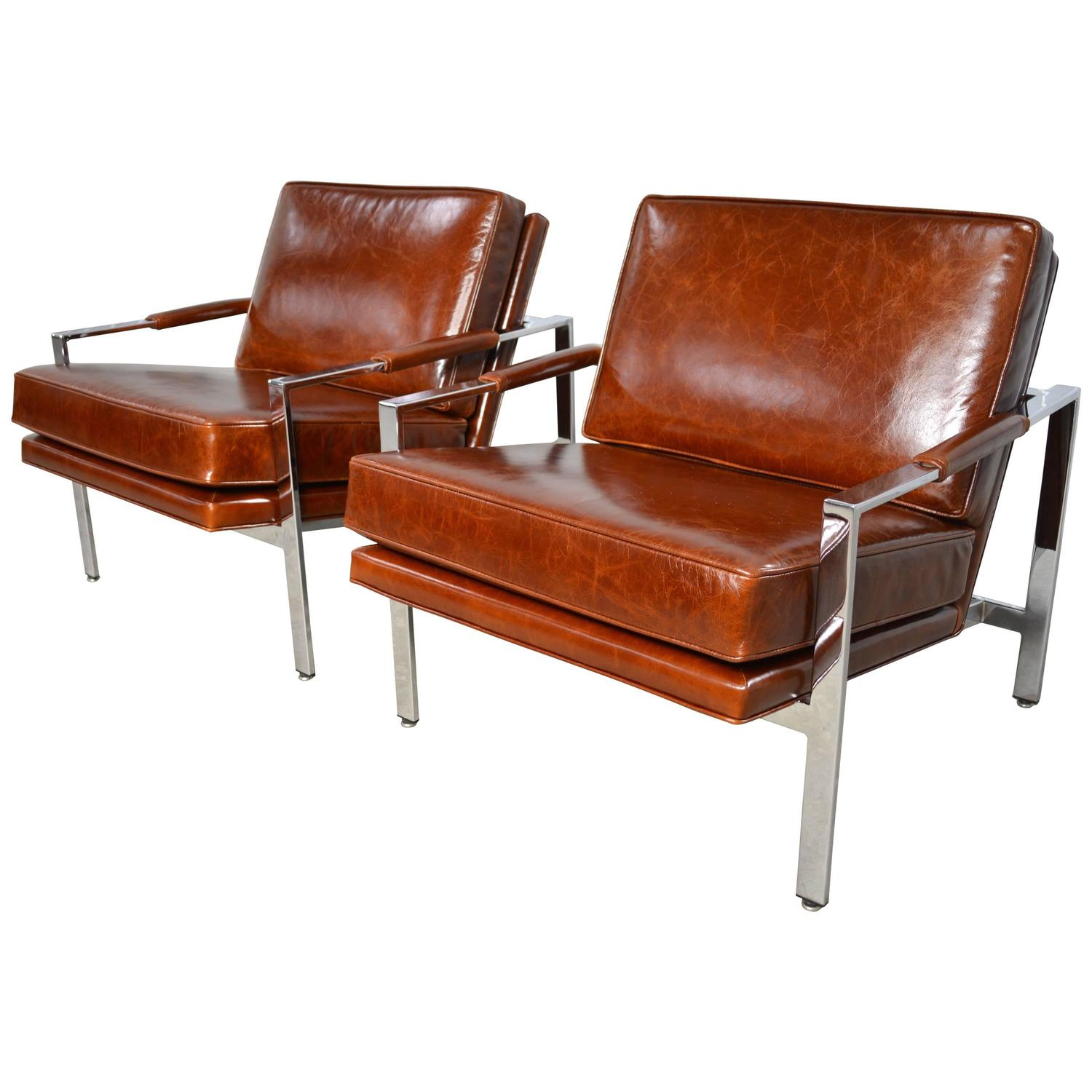 Milo Baughman Pair Of Leather And Chrome Flat Bar Lounge