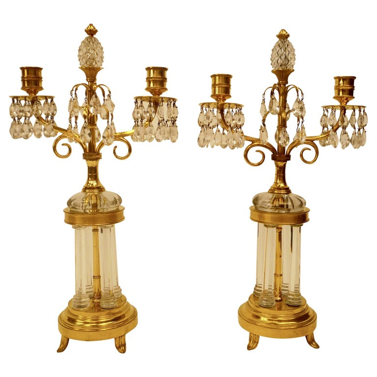 Pair of Gilt Bronze and Cut Crystal Candelabra, Attributed to William Parker For Sale