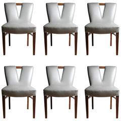 Set of Six Vintage Paul Frankl Dining Chairs Deco Style