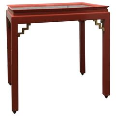 20th Century Chinoiserie Red Lacquer Sidetable