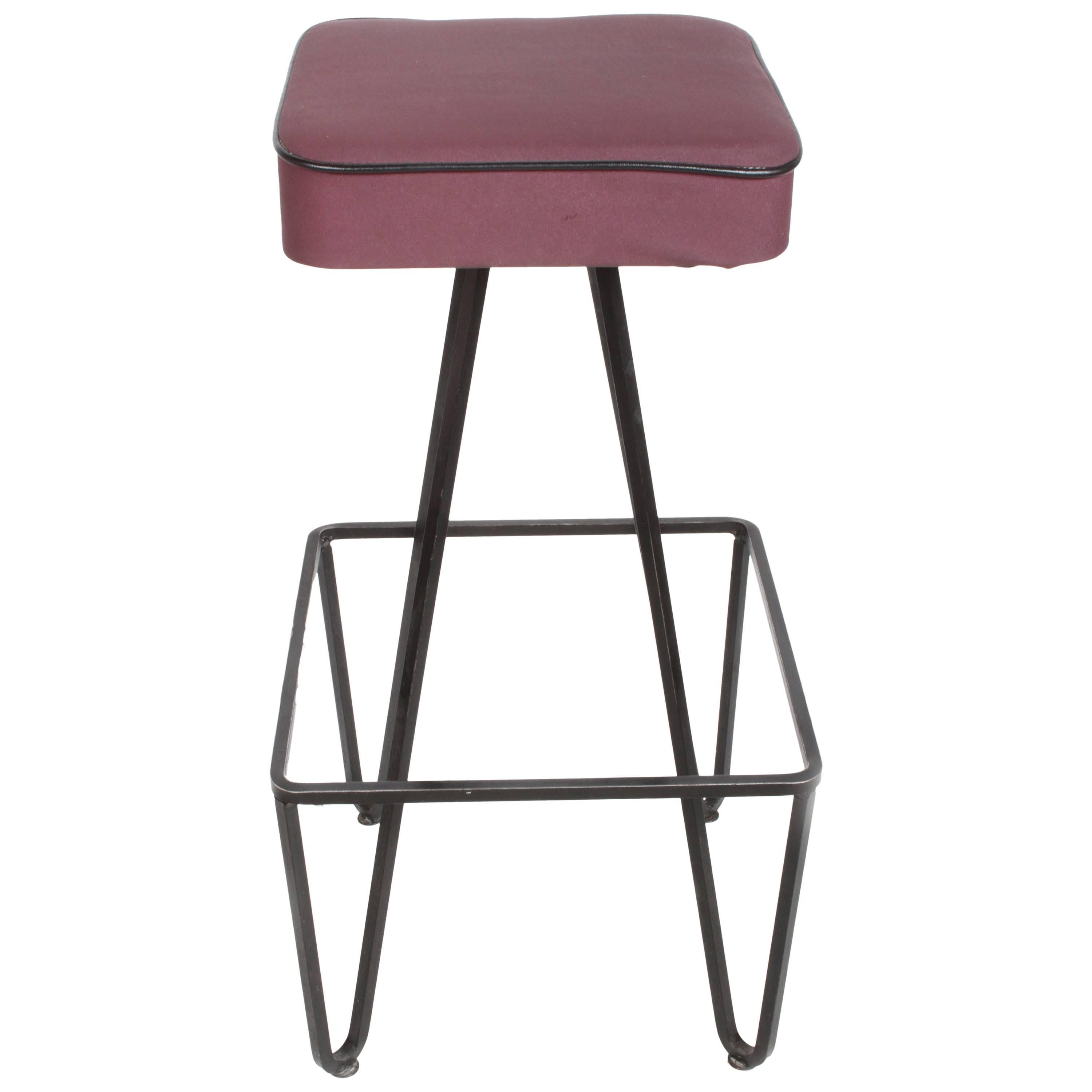 Pair of Mid-Century Modern Wrought Iron Bar Stools after Frederick Weinberg