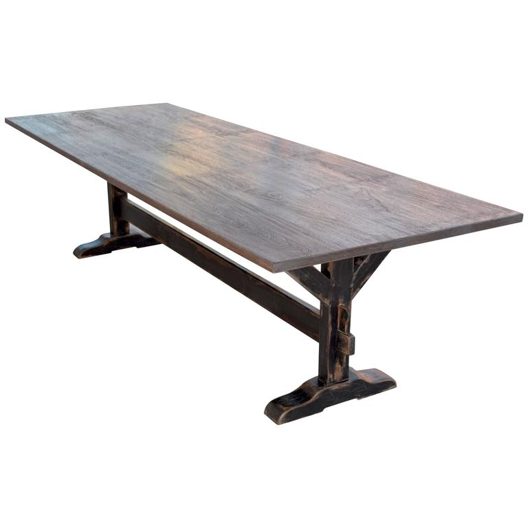 Trestle Table in Solid Walnut, Built to Order by Petersen Antiques