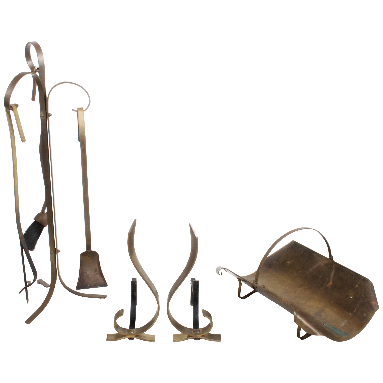Mid-Century Modern Sculptural Brass Fire Tool Andiron Set