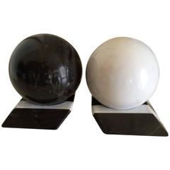 Pair of Black and White Marble Sphere Bookends