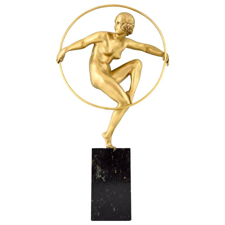 Gilt Art Deco Bronze Nude Hoop Dancer by Marcel Bouraine, 1930 France