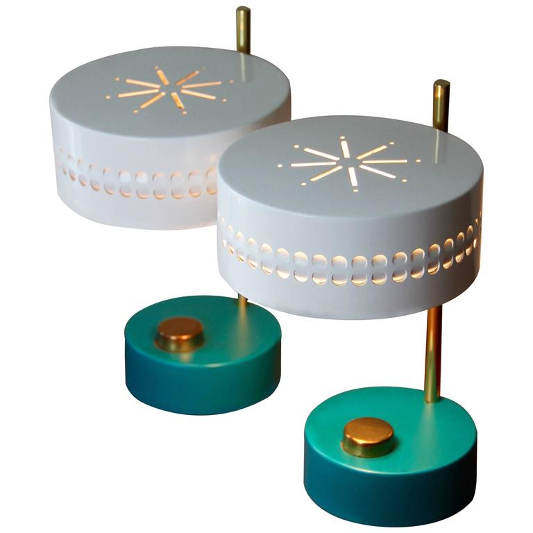 Mid-Century Pair of Teal Green Mathieu Mategot 1950s Bedside Table Lamps For Sale