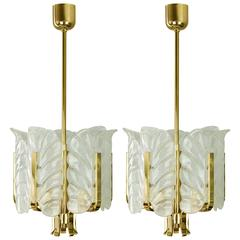 Pair of 1950s Carl Fagerlund Hollywood Regency Brass and Glass Leaves Chandelier