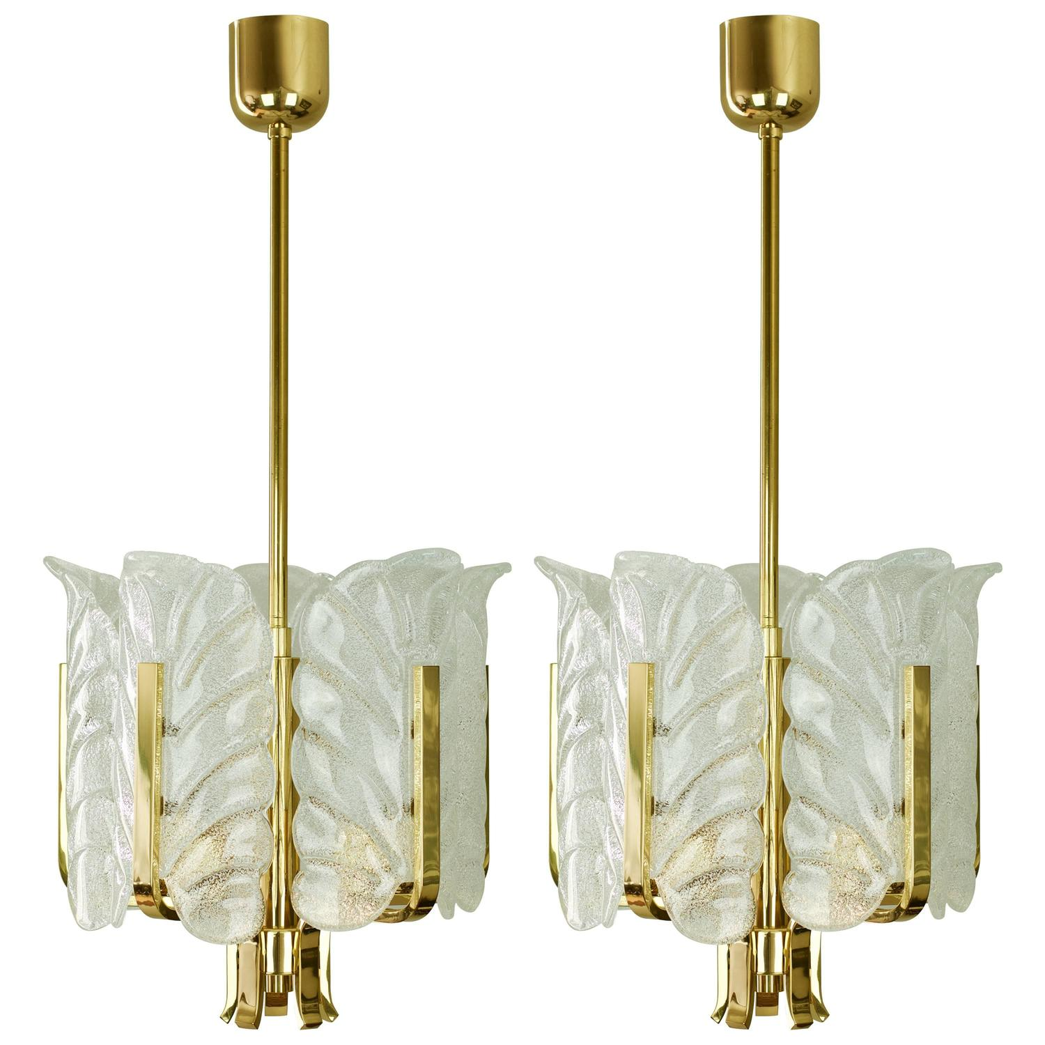 hollywood regency lighting. pair of 1950s carl fagerlund hollywood regency brass and glass leaves chandelier at 1stdibs lighting l