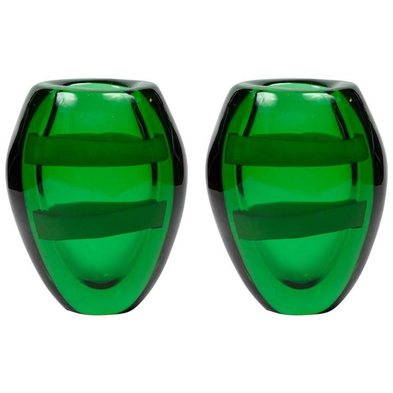 Nice Pair of Signed Green Murano Glass For Sale