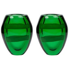 Nice Pair of Signed Green Murano Glass