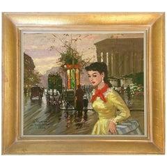 """50'S Original Oil On Canvas Painting """"Le Madeleine A Paris"""" By, Francois Gerome"""