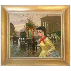 "1950'S Original Oil On Canvas Painting ""Le Madeleine"" By, Francois Gerome-France"